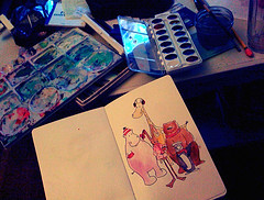 Having a lovely, relaxing afternoon drawing & painting (watercolor).